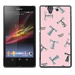 Be Good Phone Accessory // Dura Cáscara cubierta Protectora Caso Carcasa Funda de Protección para Sony Xperia Z L36H C6602 C6603 C6606 C6616 // Cartoon Fashion Design Pink Sewing