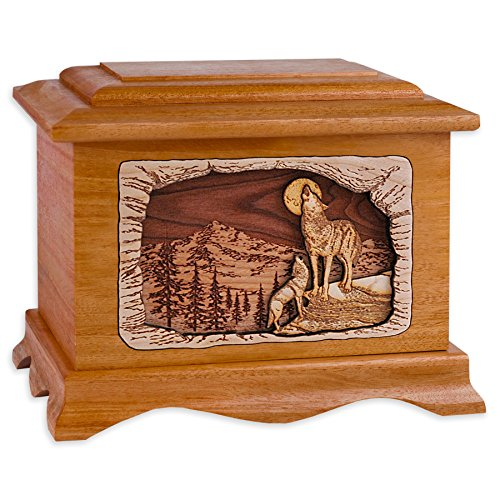 Wooden Cremation Urn - Ambassador Shape Funeral Urn with Howling Wolves 3-Dimensional Inlay Wood Art Memorial - Funeral Urns for Adults with Wolf Inlays (Mahogany Wood)