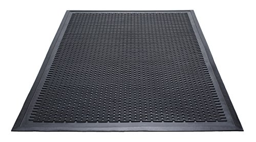 Black Rain Rug (Guardian 14040600 Clean Step Scraper Outdoor Floor Mat, Natural Rubber, 4'x 6', Black, Ideal for any outside entryway, Scrapes Shoes Clean of Dirt and Grime)