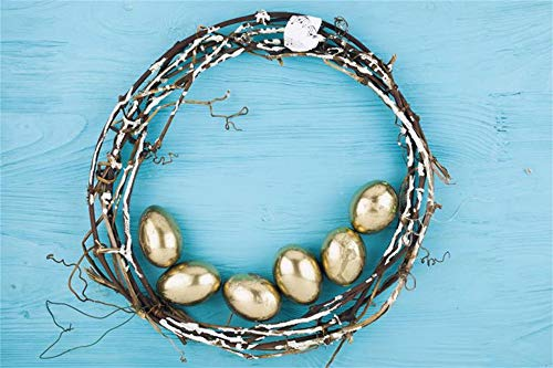 Baocicco 10x6.5ft Happy Easter Backdrop Shining Gold Painted Eggs Dead Branches Circle Background Blue Wood Plank Fence Photography Background Holiday Festival Children Adults Portrait Studio Props