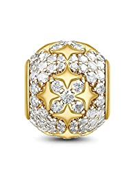 """GNOCE""""Shinning Star"""" Bracelet Charms Sterling Silver 18k Gold Plated Bead Charms with Cubic Zirconia fit Bracelet/Necklace Jewelry Gift for Women Mens"""