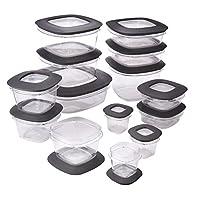 Rubbermaid Premier Food Storage Containers, 28-Piece Set, Grey