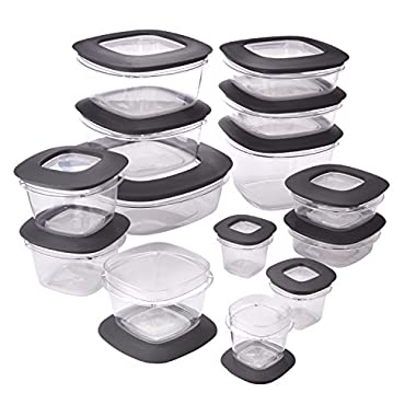 Rubbermaid Premier Food Storage Containers, 28-Piece Set, Grey
