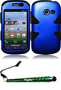 FoxyCase(TM) FREE stylus AND Samsung Galaxy Centura S738C S730G Discover Dynamic Hybrid Cover Case - Blue+Black cas couverture