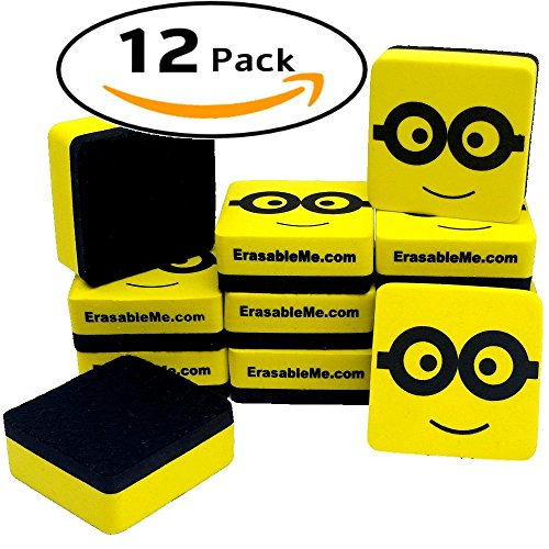 ItemMax Whiteboard Eraser 2' - 12 Pack Magnetic Dry Erase Erasers. Perfect for Classroom - School - Office - Home - Teachers
