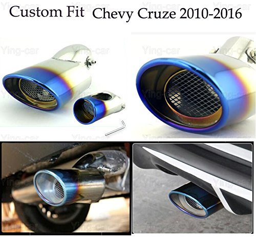 1Pcs Blue Curved Stainless Steel Exhaust Muffler Tail Pipe Tip Tailpipe for Chevy Cruze 2010-2016 2017 Yingchi