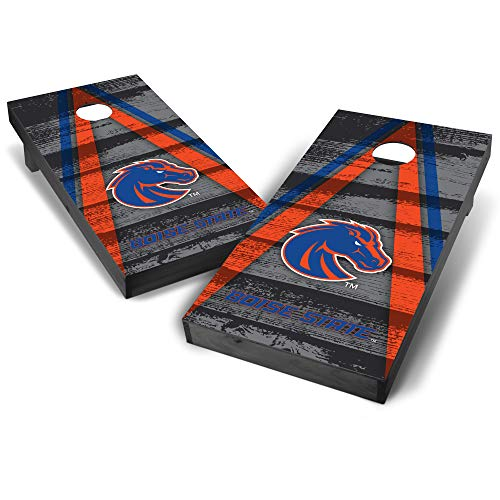 (Wild Sports NCAA Boise State Broncos College Grey Authentic Cornhole Game Set Vintage Triangle Design, 2' x 4', Team Color)