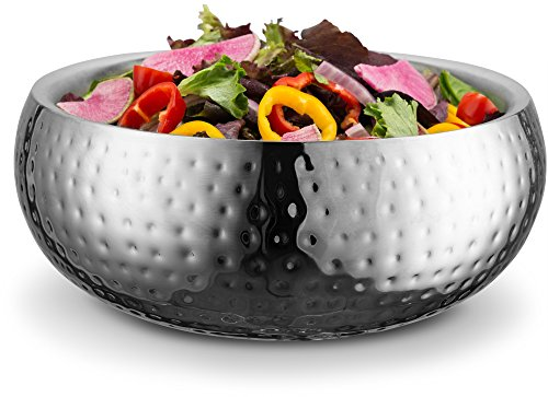 - KooK Double Wall Serving Bowl - 11 Inch Hammered Style - Stainless Steel (Soup, Cooked Food, Salads, Fruit)