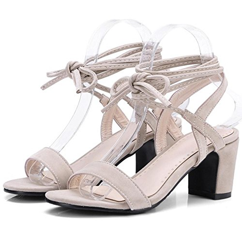 Women TAOFFEN Lace Up Sandals Simple Beige Heels 8vxvzrqdw