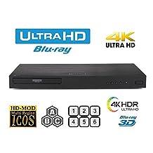 LG 870 UHD - 2D/3D - 2K/4K - Region Free Blu Ray Disc DVD Player - PAL/NTSC - USB - 100-240V 50/60Hz w Built-in NTSC⇔PAL 4k HD Converter + 6 Feet 4K HDMI Cable included.