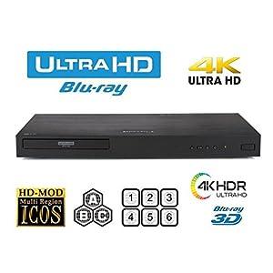 New LG UBK80 UHD - 4K - 2D/3D - Region Free Blu Ray Disc DVD Player - PAL/NTSC - USB - 100-240V 50/60Hz for World-Wide Use & 6 Feet Multi System 4K HDMI Cable