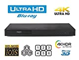New LG UBK80 UHD - 4K - 2D/3D - Region Free Blu Ray Disc DVD Player - PAL/NTSC - USB - 100-240V 50/60Hz for World-Wide Use & 6 Feet Multi System 4K HDMI Cable