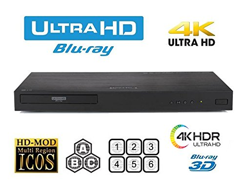 New LG UBK80 UHD - 4K - 2D/3D - Region Free Blu Ray Disc DVD Player - PAL/NTSC - USB - 100-240V 50/60Hz for World-Wide Use & 6 Feet Multi System 4K HDMI Cable by HDI