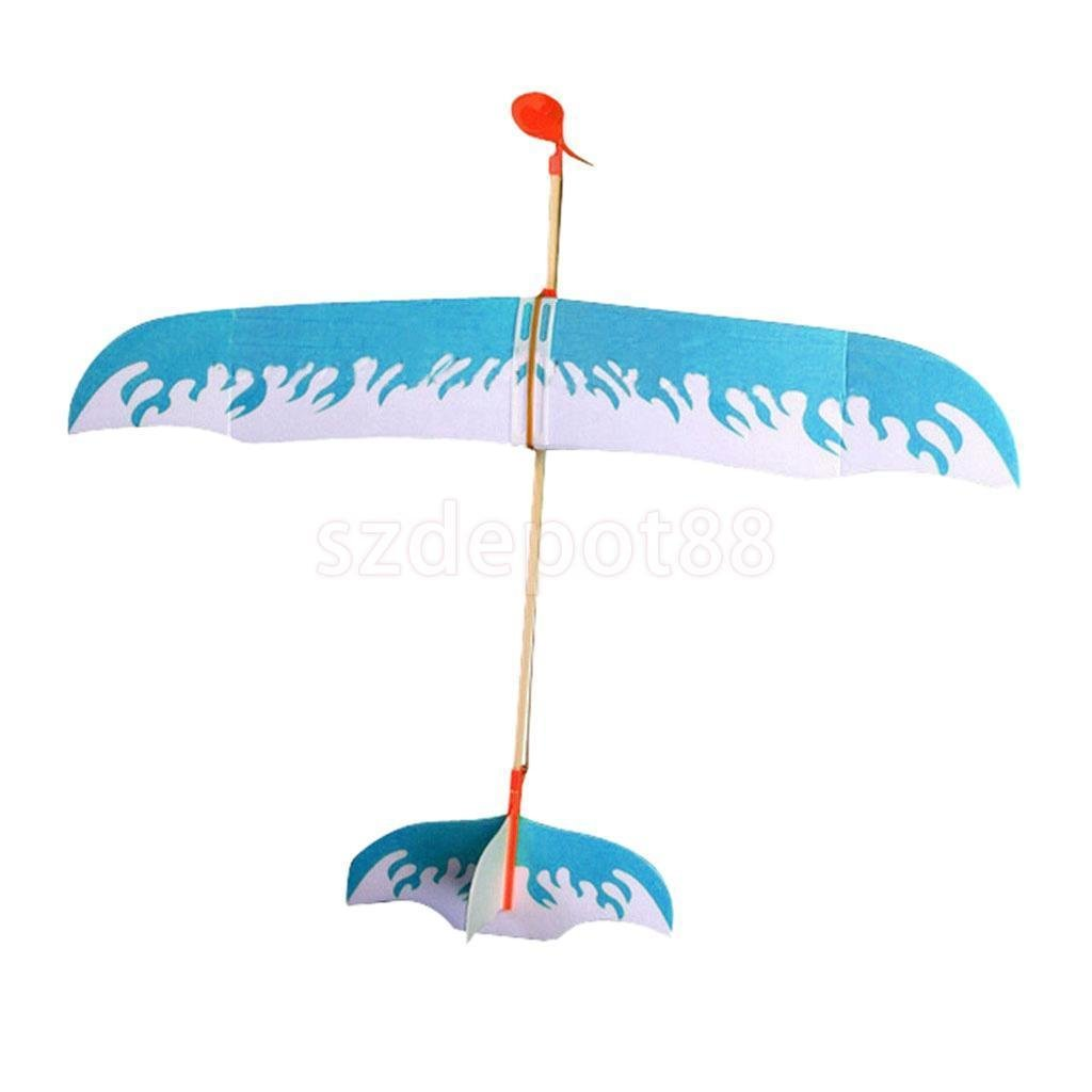 Blue Rubber Band Powered Glider Plane Aircraft Kit Flying Model Children Toy