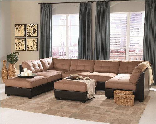 Microfiber Sectional Sofa Set - 8 Piece in Brown Microfiber - Coaster by Coaster Home Furnishings