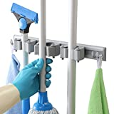 Dr.Dirt Mop and Broom Holder Wall Mounted for Door 3 position and 4 hooks Door Mounted Tool Rack Storage Organizer Utility