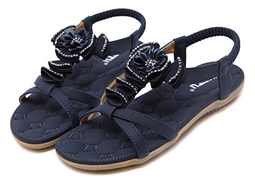 AGOWOO Womens Sandles Novelty Slip On Beaded Sandals Navy qfUf49WEW3