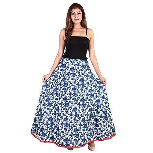 Indigo Print Skirt - Women Maxi Cotton Indigo Print Designer Flare Long Skirt for Women (Free Size) (Waistband: Lace)