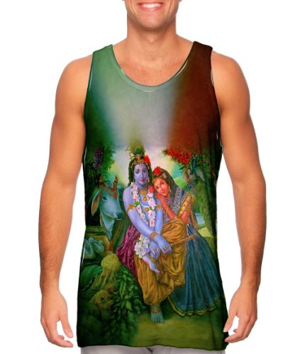 Yizzam- Hindu God - Radha Krishna In The Garden -TShirt- Mens Tank Top -X-Small ()