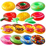 R HORSE 14 Packs Inflatable Drink Holders Fruit Cup Holders Pool Drink Floats Cup Coaster Pineapple Mini Donut for Pool Party Water Fun Bath Toys