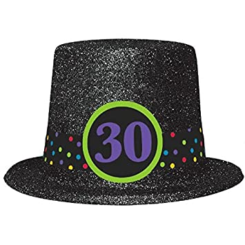 The Party Continuous 30th Birthday Glitter Top Hat Black 95quot Glitterred
