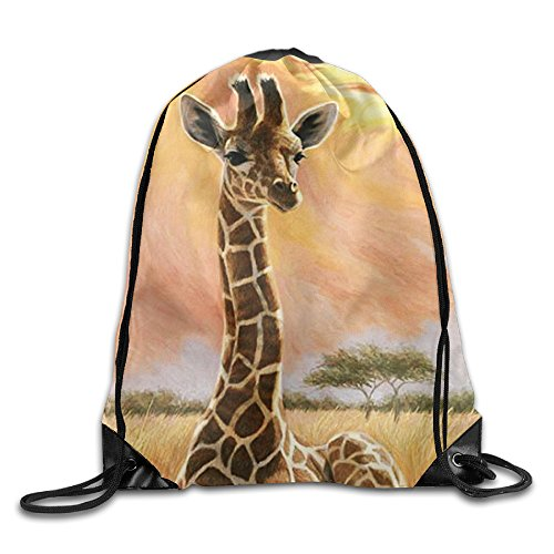 MCWO GRAY Drawstring Bag Giraffe Backpack Draw Cord Bag Sackpack Shoulder Bags Gym Bag Large Lightweight Gym For Men And Women Hiking Swimming Yoga