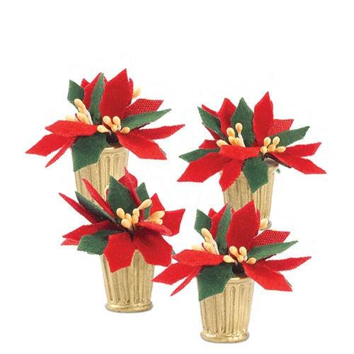 Potted Poinsettia (Department 56 Accessories for Villages Potted Poinsettias Accessory Figurine (Set of 4))