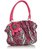 Fuchsia Snake Embossed Floral Satchel, Bags Central