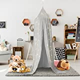 Jeteven Cotton Canvas Dome Bed Canopy Kids Play Tent Mosquito Net for Baby Kids Indoor Outdoor Playing Reading Height 240cm/94.5in Grey
