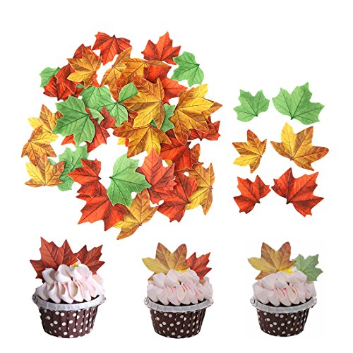 GEORLD Set of 48 Edible Fall Leaves Cake