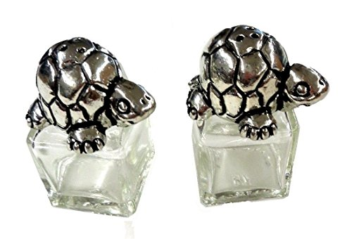 (Basic Spirit Pewter Sea Turtle Salt and Pepper Shaker Set Small at Just 2 Inches Tall x 1 Inch Square)