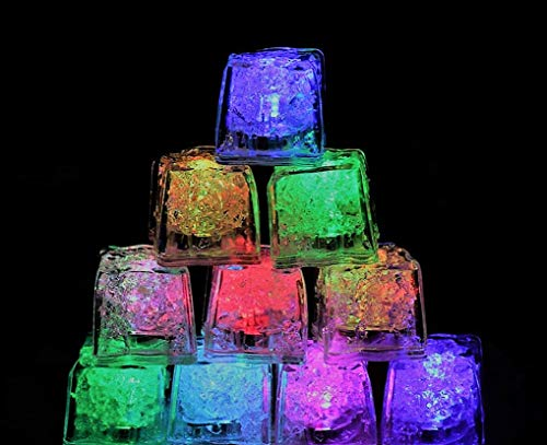 (12 Pack) Multi Color LED Light-Up Ice Cubes | Liquid Sensor Party Decoration's