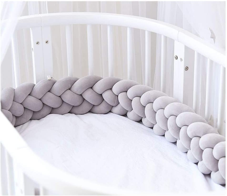 Size : 3M ZIYEYE Handmade Braided Cot Bumper Baby Head Guard Bumper Knot Braid Pillow Cushion Decorative Pillow for Baby Nursery Crib Bedding-Gray