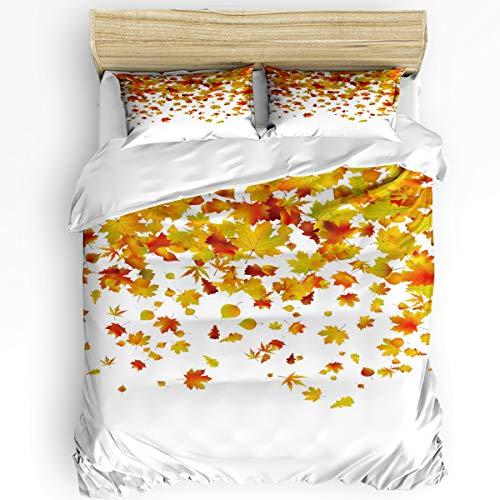 KAROLA 3Pcs Duvet Cover Set Twin,Bedding Set Soft Comforter Cover Zipper Closure Quilt Cover Sets Autumn Falling Maple Leaves (68