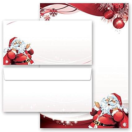 Papelería Navidad CARTA A PAPÁ NOEL 20 componentes (10 hojas estampadas + 10 sobres estampados DL, sin ventanas)
