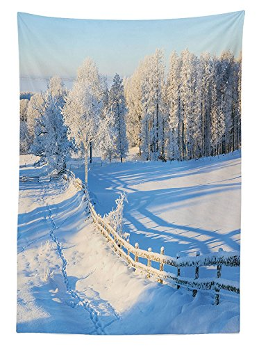 Farm House Decor Tablecloth Winter Snow Valley with Oak Borders Pines Frozen Pastoral High Cold Lands Dining Room Kitchen Rectangular Table Cover White Blue