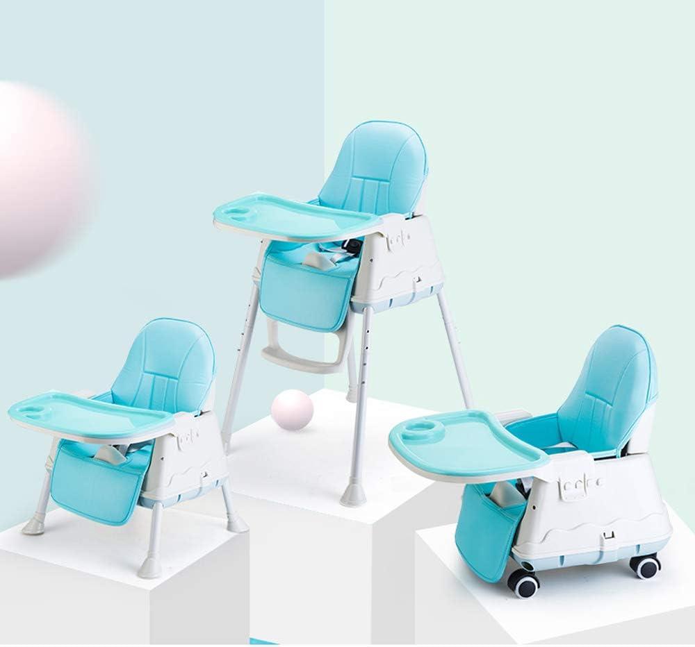 Blu altezza regolabile per schienale per cintura Tavolo staccabile Sinbide Seggiolone per bambini con 4 ruote facile da pulire cuscino comfort seggiolone 3 in 1
