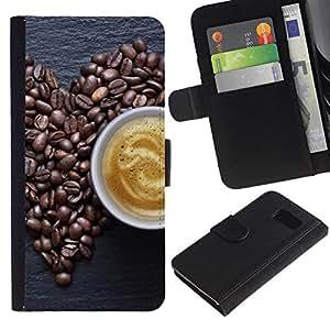 All Phone Most Case / Oferta Especial Cáscara Funda de cuero Monedero Cubierta de proteccion Caso / Wallet Case for Samsung Galaxy S6 // Coffe Love