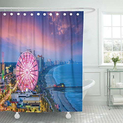 GETTOGET Travel Myrtle Beach South Carolina USA City Skyline Amusement Shower Curtain Bathroom Sets Hooks,Waterproof Polyester Curtain