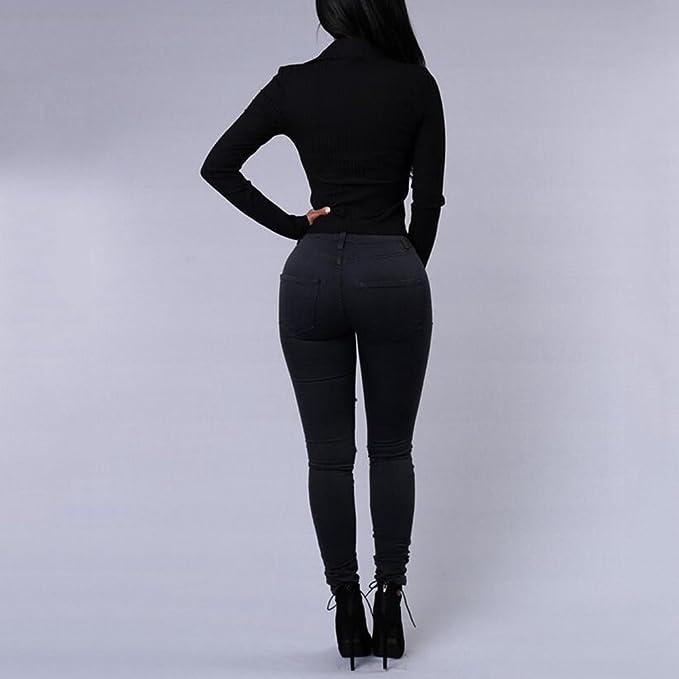 iBaste Jeanshose Damen Stretch Hose Zerrissen High Waist Bleistifthose  Jeans Hose Skinny Hochbund Röhrenjeans Lässige Hosen  Amazon.de  Bekleidung 411f76ed11
