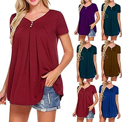 PASATO 2019 New Womens S-XXL Short Sleeve V-Neck Pure Loose T-Shirts Casual Ladies Button Tops Blouse