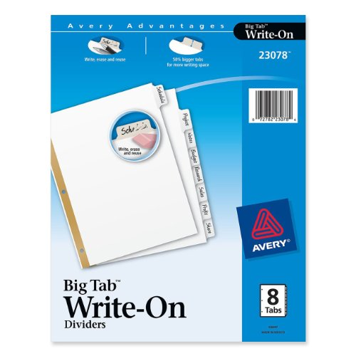 Avery Write Dividers 8 Tab 23078