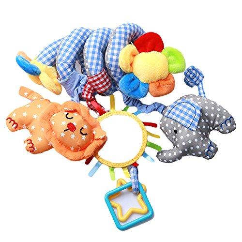 EJY Baby Plüschtiere, Kleinkindspielzeug,Beschwichtigen Schlaf Spielzeug,Kinderwagen, der Spielzeugauto-Drehmaschine hängenden Baby Rasseln,Blau Elefant