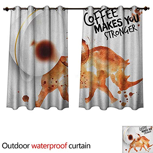 Anshesix Coffee Art Home Patio Outdoor Curtain Wild Rhino Animal from Spilled Hot Beverage Stain Latte Cappuccino W96 x L72(245cm x 183cm)