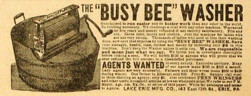 1892 Ad Lake Erie Busy Bee Clothing Laundry Washer Appliance Washtub Wringer - Original Print Ad