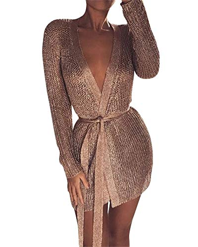 Yeshire Women's Casual Long Sleeve Open Front Soft Knit Cardigan Sweater with Belt X-Large Rose Gold
