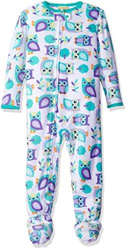 Peas & Carrots Girls' Toddler' Microfleece Footed Blanket Sleeper, Owl, 3T