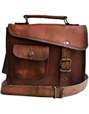 Jaald- Men's Genuine Distressed Leather Messenger Bag Brown Satchel for Women Shoulder Bag Murse Cross Body Purse
