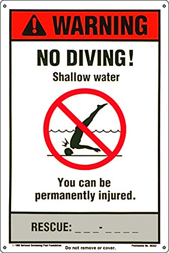 Poolmaster Sign for Residential or Commercial Swimming Pools, NSPF No Diving