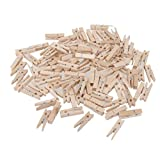 Jili Online 100 Pieces Natural Wooden Photo Paper Peg Pin Laundry Clothespin Craft Clips Wood Colour Photo Hanging Spring Clips - Natural, 7.2cmx1.2cmx1.4cm